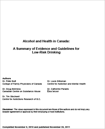 Alcohol and Health in Canada: A Summary of Evidence and Guidelines for Low-Risk Drinking