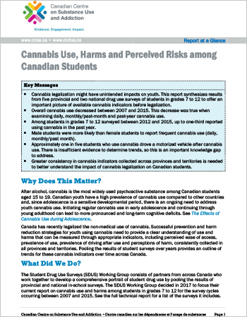 Cannabis Use, Harms and Perceived Risks among Canadian Students (Report at a Glance)