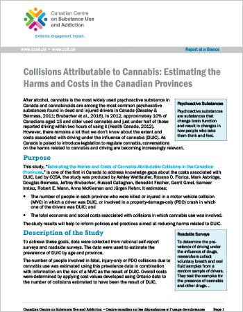 Collisions Attributable to Cannabis: Estimating the Harms and Costs in the Canadian Provinces (Report at a Glance)