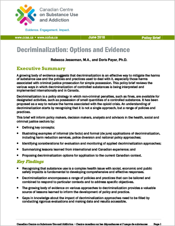 Decriminalization: Options and Evidence (Policy Brief)