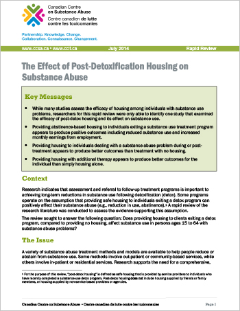The Effect of Post-Detoxification Housing on Substance Abuse (Rapid Review)