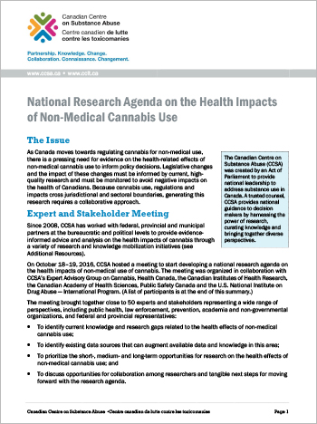 National Research Agenda on the Health Impacts of Non-Medical Cannabis Use (Summary Report)