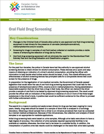 Oral Fluid Drug Screening (Policy Brief)