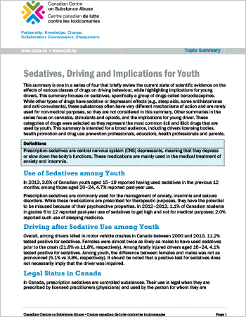 Sedatives, Driving and Implications for Youth (Topic Summary)