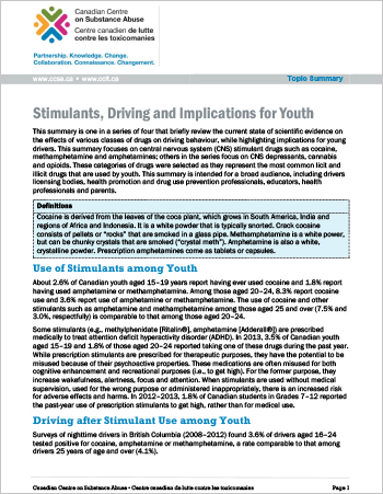 Stimulants, Driving and Implications for Youth (Topic Summary)