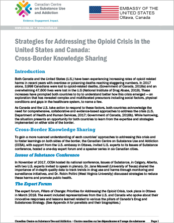 Strategies for Addressing the Opioid Crisis in the United States and Canada: Cross-Border Knowledge Sharing