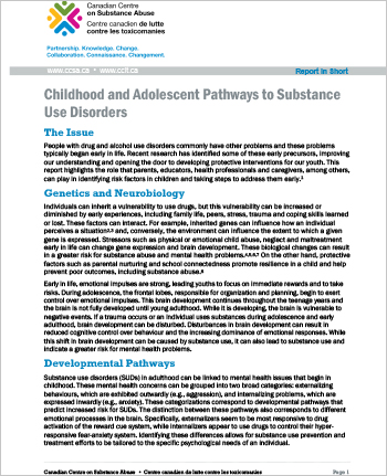 Childhood and Adolescent Pathways to Substance Use Disorders (Report in Short)