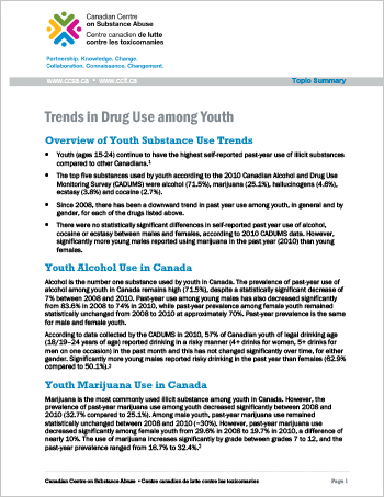 Trends in Drug Use Among Youth (Topic Summary)