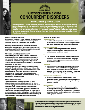 Concurrent Disorders: Highlights