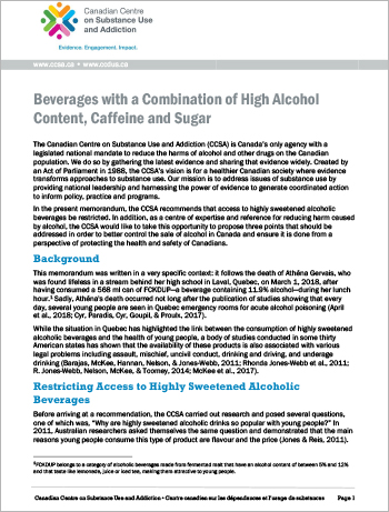 Presentation on pre-mixed drinks combining high alcohol, caffeine and sugar content to House of Commons' Standing Committee on Health