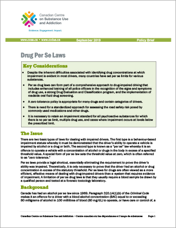 Drug Per Se Laws [Policy Brief]