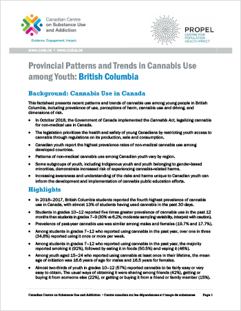 Provincial Patterns and Trends in Cannabis Use among Youth: British Columbia