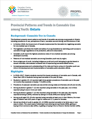 Provincial Patterns and Trends in Cannabis Use among Youth: Ontario