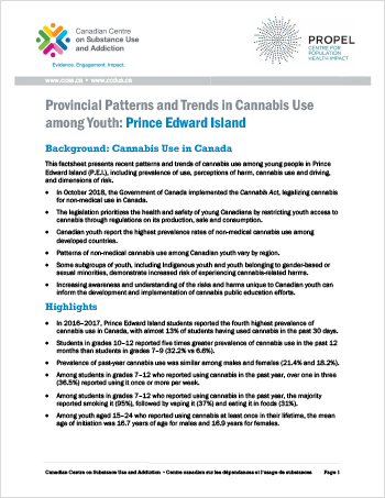 Provincial Patterns and Trends in Cannabis Use among Youth: Prince Edward Island