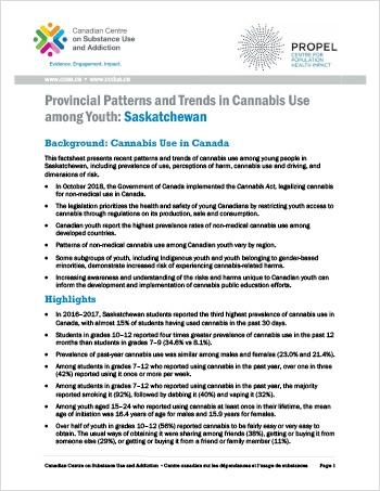 Provincial Patterns and Trends in Cannabis Use among Youth: Saskatchewan